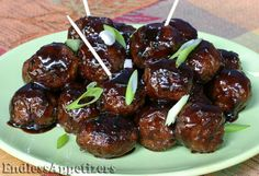 Mini ground beef meatballs seasoned with garlic and cayenne pepper, tossed with a glistening sauce made with apple juice, soy sauce, ground ginger and cayenne pepper.