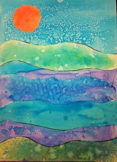 Angela Anderson Art Blog: Watercolor Technique Landscapes - Kids Art Class