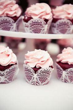 Lovely lace covered wedding cupcakes