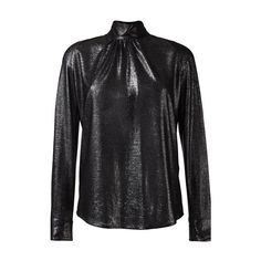 GOLDEN GOOSE DELUXE BRAND High Collar Lurex Shirt (1.360 BRL) ❤ liked on Polyvore featuring tops, black, long sleeve tops, high collar top, long-sleeve shirt, pleated shirt and golden goose