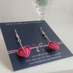 Sweet Heart Dangle Earrings / Tsumami Kanzashi / Geisha