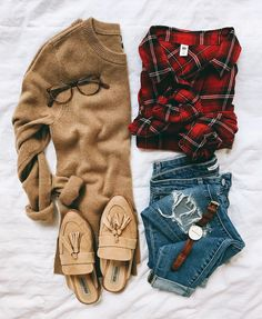 Plaid button up, cozy camel sweater & tassel slides - Olivia • LivvyLand (@livvylandblog) on Instagram