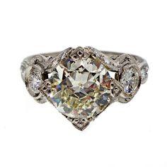 Antique Art Deco 2.59ct Transitional Cut Platinum Diamond Ring 1930 - petersuchyjewelers