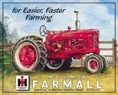 plaque métal avec tracteur Mc Cormick farmall pour une ...