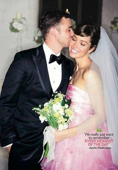 Justin Timberlake and Jessica Biel Wedding - I actually really love the pink dress.