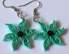 green quilled earrings by ~Craftcove on deviantART