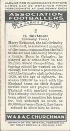 1938 W.A.& A.C Churchman #2 H. Betmead Back