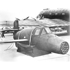 The Bachem Ba 349 Natter (Viper, Adder) was a World War II German point-defense rocket powered interceptor, which was to be used in a very similar way to a manned surface-to-air missile. After a vertical take-off, which eliminated the need for airfields, the majority of the flight to the Allied bombers was to be controlled by an autopilot. The primary mission of the relatively untrained pilot, was to aim the aircraft at its target bomber and fire its armament of rockets.