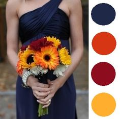 Dark Blue, Orange, Burgundy & Yellow Color Theme