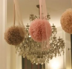 hanging tulle poms. #decor #wedding #party