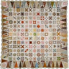 """The original quilt by Jane Stickle that has inspired thousands of quilters.It was made by  Jane Stickle during the American Civil War. Jane Stickle signed her quilt """"In War Time 1863."""" It is an amazing quilt  of 169 4 1/2 inch blocks surrounded by fifty-two 8""""x5"""" triangles and four corner triangles."""