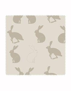 Hetty - Hare Print Fabric in Linen | Aurina Ltd