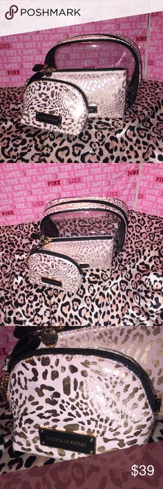 Vs cosmetic bag travel makeup case 3 pic set Brand new leopard travel cosmetic bag set Victoria's Secret Bags Cosmetic Bags & Cases