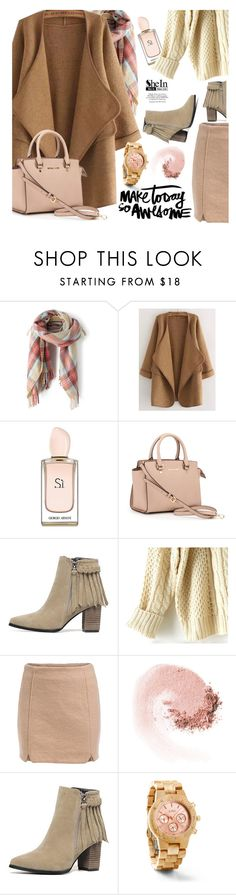 """Make today so awesome"" by ansev ❤ liked on Polyvore featuring Giorgio Armani, MICHAEL Michael Kors, NARS Cosmetics, shein and woodwatches"