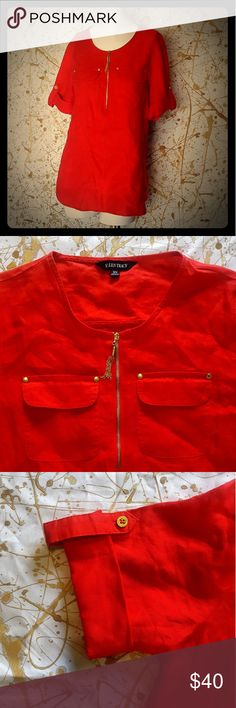 """Ellen Tracy red tunic size XS with golden hardware Hey gorgeous, thank you for checking out my closet.  This is an Ellen Tracy red tunic size XS. It has gold zipper, pocket studs and buttons on the sleeves. 100 % linen. Approximate measurements laying flat: 27"""" length, 19"""" chest (from armpit to armpit), 15"""" shoulder. Ellen Tracy Tops Tunics"""