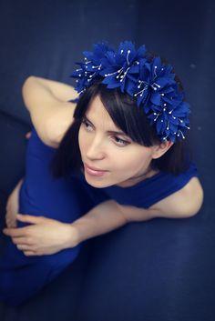 Обруч из фетра , felt hoop, blue hoop, felt flowers, цветы из фетра, детский обруч, синий, для девочки, for girl
