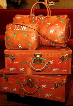 Bet the owner of this designer luggage has never had a problem finding it on the baggage carasole at the airport!
