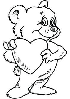 Teddy Bear with Heart Målarbok. Kategorier: Alla hjärtans dag. Gratis utskrivningsbara bilder med varierande teman som du kan skriva ut och färglägga.