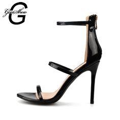 GENSHUO mujeres tacones altos sandalias verano tacones delgados estilete  zapatos de tacón alto las mujeres señoras d7a872eca698