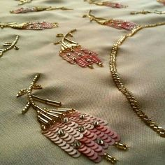Best Ideas for embroidery flowers fashion embellishments Zardosi Embroidery, Embroidery On Kurtis, Bead Embroidery Patterns, Embroidery On Clothes, Hand Work Embroidery, Couture Embroidery, Embroidery Fashion, Hand Embroidery Designs, Beaded Embroidery