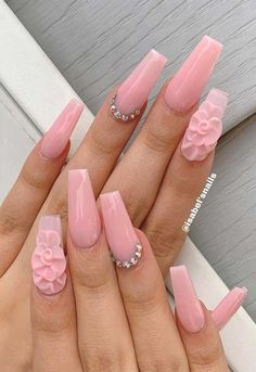 Over 80 Designs for Perfect Pink Nail Art Designs Wedding Acrylic Nails, Acrylic Nails Coffin Short, Pink Acrylic Nails, Wedding Nails, Cute Pink Nails, Pink Nail Art, Pretty Nails, 3d Nail Designs, Cute Acrylic Nail Designs