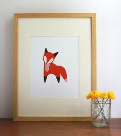 October Little Fox Illustration by Gingiber on Etsy, $20.00