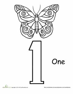 Worksheets: Count and Color: One Butterfly