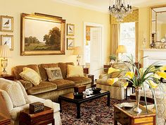 Chartreuse velvet couch and buttery yellow hues - Southern Accents
