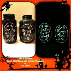 The Nightmare Before Christmas Glow-in-the-Dark Deadly Night Shade and Worm's Wort Jars by, Tina Listro