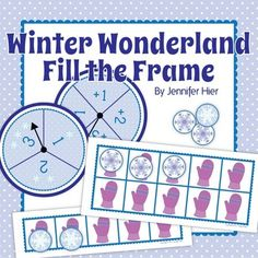 Winter math game or activity for kindergarten, pre-k, preschool.  Winter Wonderland Fill the Frame:  Five and Ten Frame Fun.  A fun way to practice early math skills!