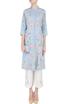 Powder blue 3D embroidered roses tunic with off white pants available only at Pernia's Pop Up Shop.