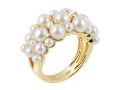 Anel em  ouro com diamantes e pérolas | CFAD2816