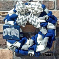 Dallas Cowboys Burlap Wreath   Gray White and  by DallyUpBoutique