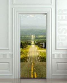 "Door STICKER road 66 landscape biker auto journey mural decole film self-adhesive poster 30x79""(77x200 cm) /"