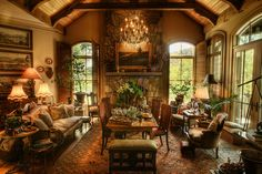 'Old World' living room in Lake Toxaway, NC waterfront home