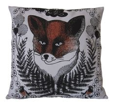 Screenprinted cushion cover with fox pattern printed in black onto a light grey cotton with hand painted details in orange. The cushion is 50 c. Fox Pattern, Screen Printing, Print Patterns, Cushions, Textiles, Hand Painted, Throw Pillows, Illustration, Prints