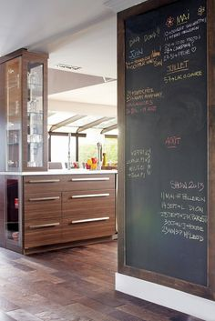 Use as door surfaces to mechanical room using concealed hinges. A CREATION wall for Noah! New Kitchen, Kitchen Decor, Küchen Design, House Design, Small Lounge, Kitchen Chalkboard, Interior Decorating, Interior Design, Cuisines Design