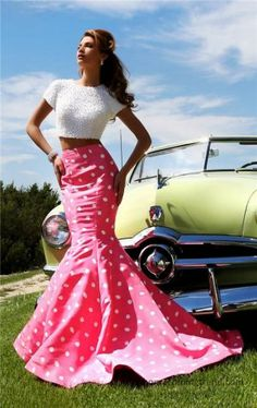 Add a modern vibe to your stylish look in Sherri Hill This regal evening gown features a two piece set dress, with high neck and short sleeves. The mermaid skirt is trimmed with a polka dot styling for a chic classic look. Sherri Hill Prom Dresses, Grad Dresses, Pageant Dresses, Homecoming Dresses, Formal Dresses, Long Dresses, Formal Wear, Wedding Dresses, Sherri Hill Kleider