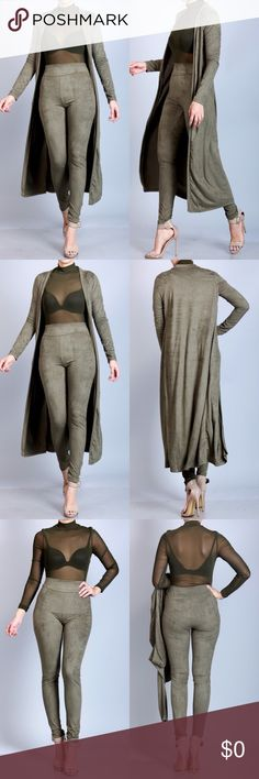 ***TWO PIECE SET*** OLIVE Suede Cardigan and High Waist Leggings. MADE IN THE USA. 50% Rayon 50% Polyester. Pants Leggings