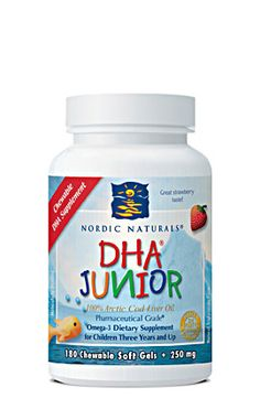 Supports Brain Development, and Visual and Nervous System Function    Nordic Naturals DHA Junior is a small, chewable cod liver oil supplement flavored with strawberry essence. DHA Junior is a delicious way for children to supplement their diet with the essential brain nutrient, DHA. Molecularly distilled for purity, DHA Junior contains only naturally existing vitamins A and D.    For children three years and older.