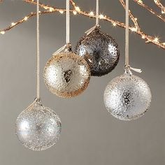 modern glass Christmas ornaments, silver gold copper ornaments #affiliate