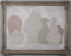 2+4 - Original acrylic painting on wood in antique frame by Peter Woodward