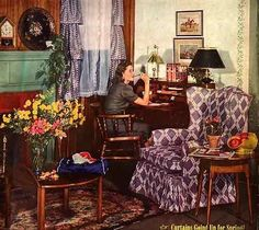 American Style Through the Decades: The Forties ~ The March 1942 issue of Better Homes and Gardens features a look popular in the early Forties - wood paneling, antique furniture and a hooked rug.
