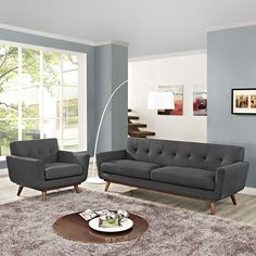 Engage Armchair and Sofa Set of 2, Gray - Gently sloping curves and large dual cushions create a favorite lounging spot. Whether plopping down after a long day at work, settling in with coffee and brunch, or entering a spirited discussion with friends, the Engage sofa is a welcome presence in your home. Seven tufted buttons create eye catching appeal; adding depth that brings your sitting decor to center stage. Four cherry color rubber wood legs and frame supply a solid base to the…