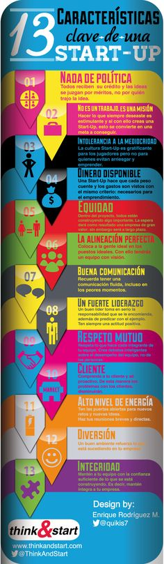 13 características clave de una Startup Fuente: @ThinkandStart @quikis7 #infografia #infographic #entrepreneurship