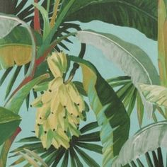 Catherine Martin by Mokum La Palma Wallpaper Aqua Washable Wallpaper, Tropical Wallpaper, Palm Wallpaper, Vinyl Wallpaper, Estilo Tropical, Accent Walls In Living Room, Cute Pineapple, Embossed Paper, Wall Art Pictures