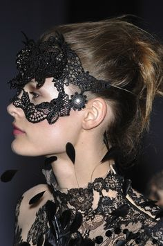 Valentino Fall 2009 Couture Philip Treacy Lace Masks   The Terrier and Lobster