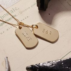 Gold Tags Personalized CUSTOM Gold Dog Tag Necklace - YOU PICK the initials - dog tags - love pendant - love necklace - handstamped