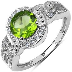 iNatemy .925 Sterling Silver Ring with 1.63ct Genuine Peridot and White Topaz - Size -