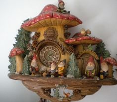Black forest troll with mushrooms clock - God I love this stuff. Coo Coo Clock, Black Forest Germany, Leaf Projects, Cuckoo Clocks, Cool Clocks, Found Art, Grandfather Clock, Paperclay, Porch Decorating